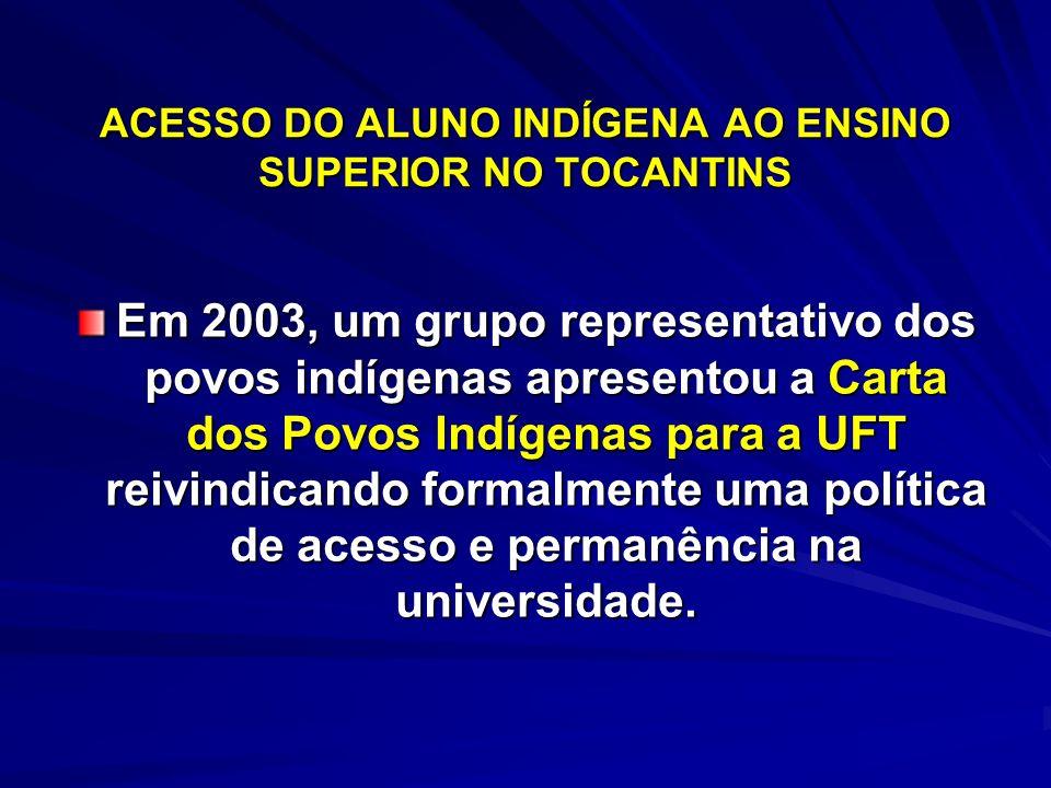 ACESSO DO ALUNO INDÍGENA AO ENSINO SUPERIOR NO TOCANTINS Em 2003, um grupo representativo dos povos indígenas apresentou a Carta dos Povos Indígenas p