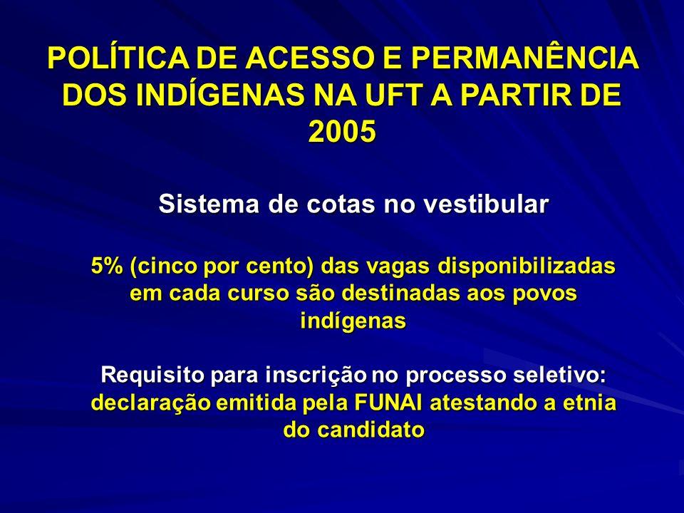 Sistema de cotas no vestibular 5% (cinco por cento) das vagas disponibilizadas em cada curso são destinadas aos povos indígenas Requisito para inscriç