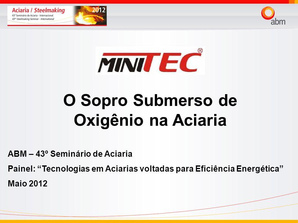 O Sopro Submerso de Oxigênio na Aciaria ABM – 43º Seminário de Aciaria Painel: Tecnologias em Aciarias voltadas para Eficiência Energética Maio 2012