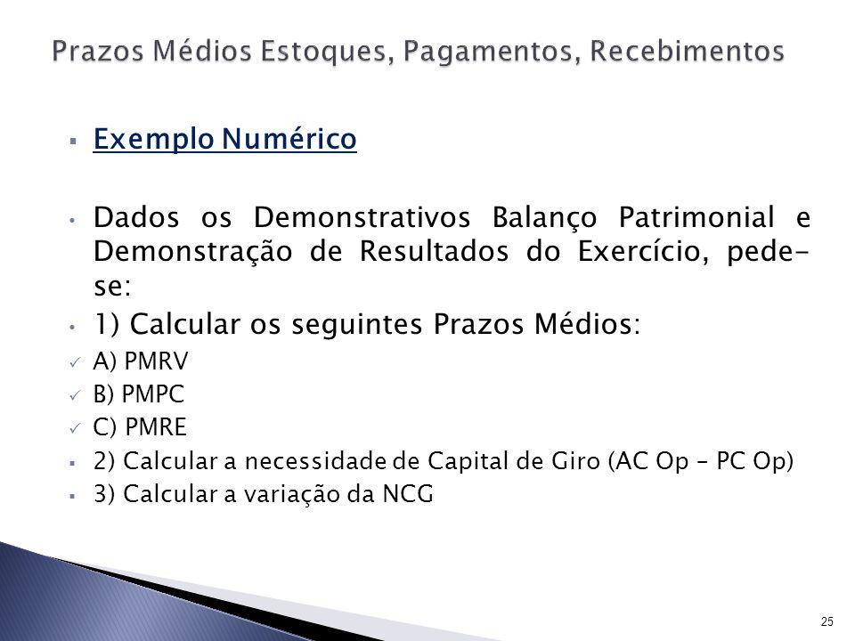 Exemplo Numérico Dados os Demonstrativos Balanço Patrimonial e Demonstração de Resultados do Exercício, pede- se: 1) Calcular os seguintes Prazos Médi