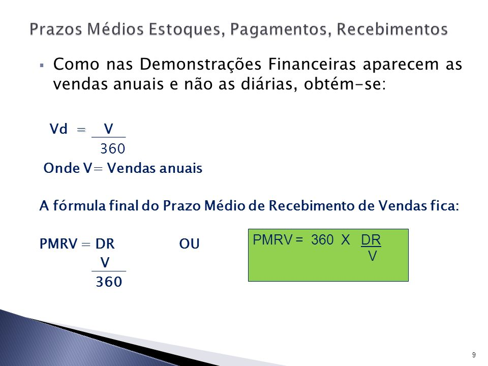 Como nas Demonstrações Financeiras aparecem as vendas anuais e não as diárias, obtém-se: = Vd = V 360 Onde V= Vendas anuais A fórmula final do Prazo M