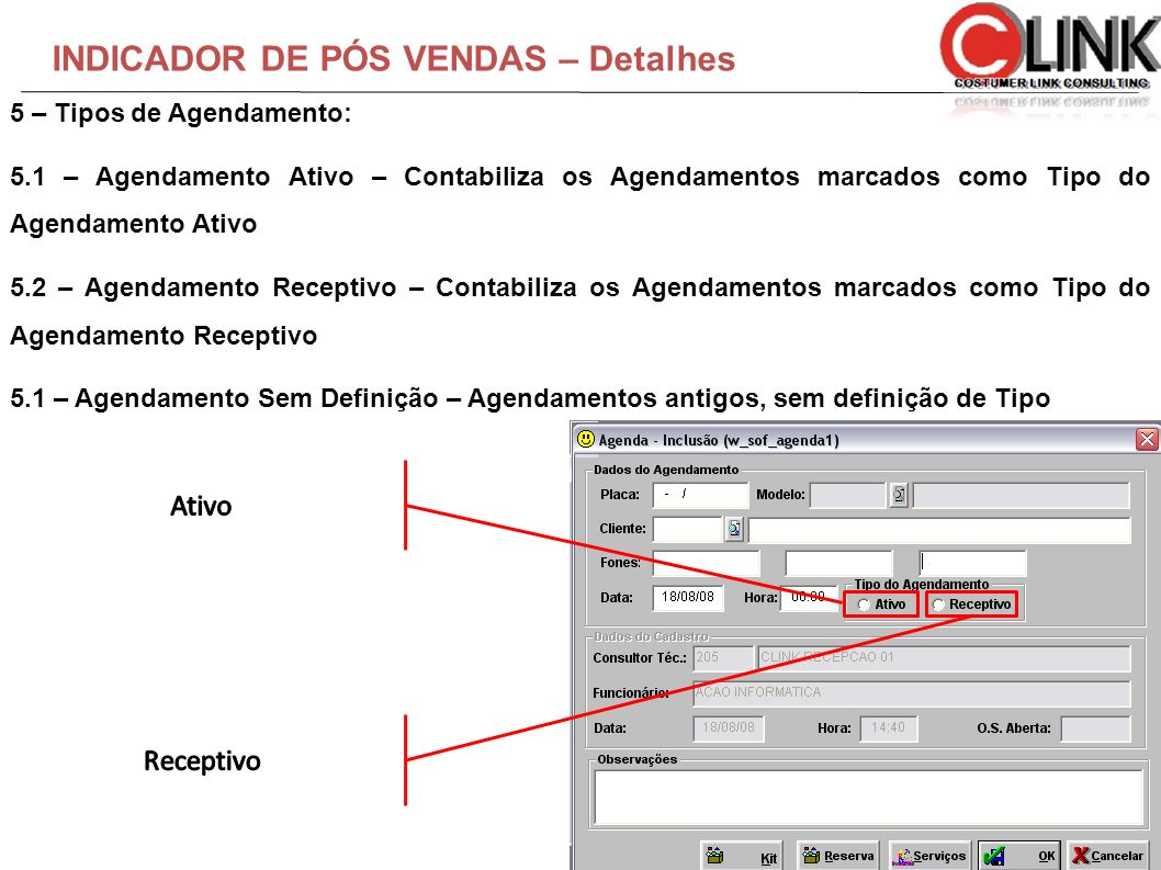 INDICADOR DE PÓS VENDAS – Detalhes 5 – Tipos de Agendamento: 5.1 – Agendamento Ativo – Contabiliza os Agendamentos marcados como Tipo do Agendamento A