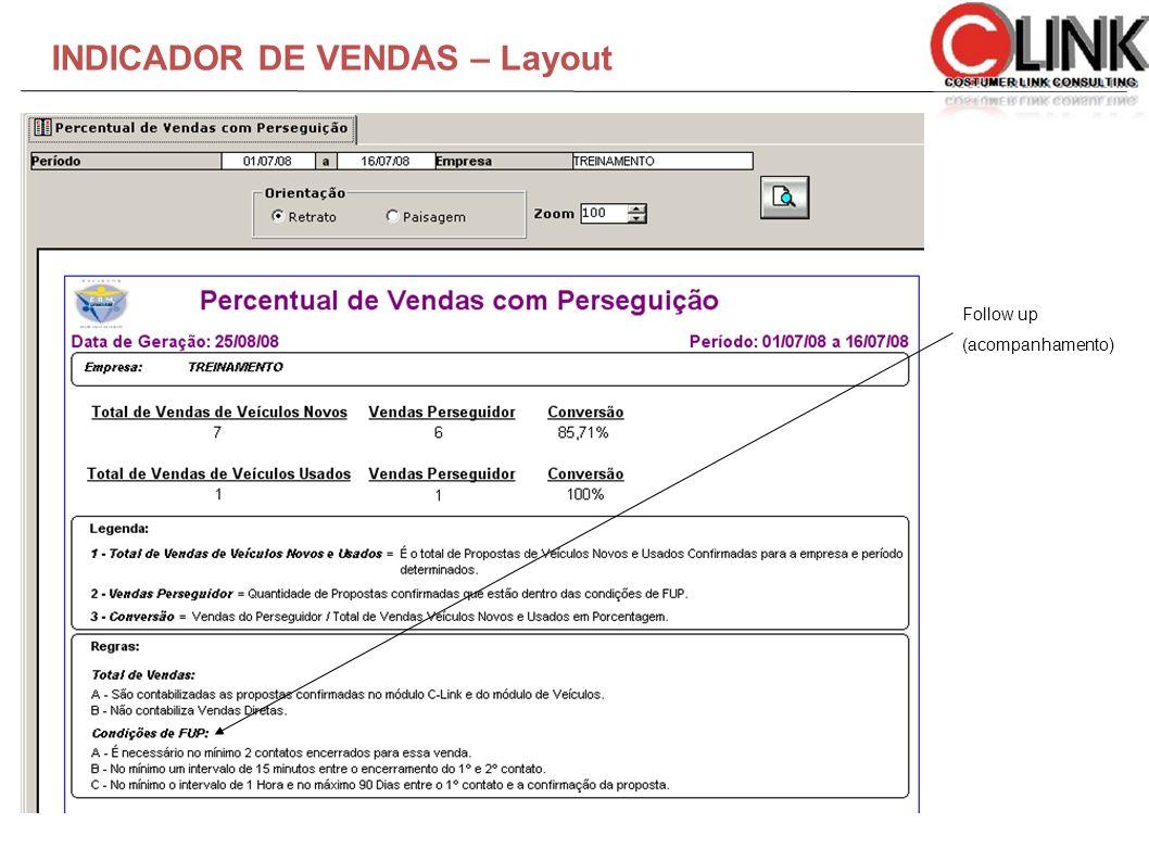 INDICADOR DE VENDAS – Layout Foll Follow up (acompanhamento)