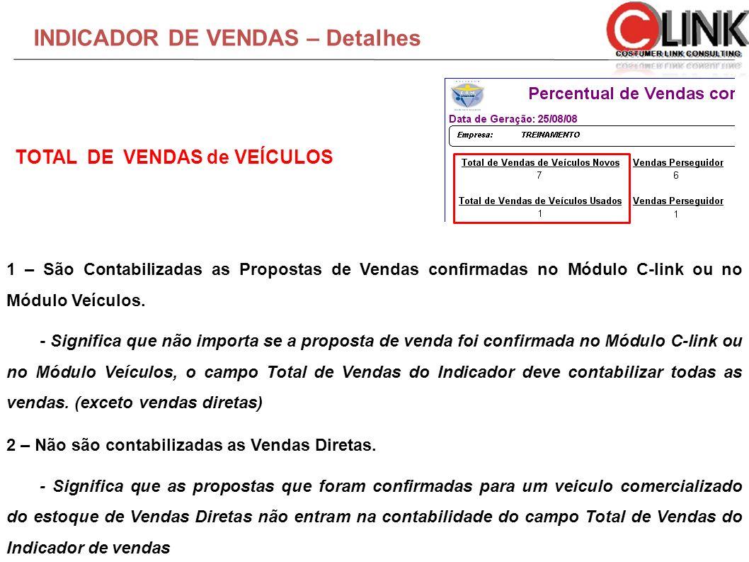 INDICADOR DE VENDAS – Detalhes 1 – São Contabilizadas as Propostas de Vendas confirmadas no Módulo C-link ou no Módulo Veículos. - Significa que não i