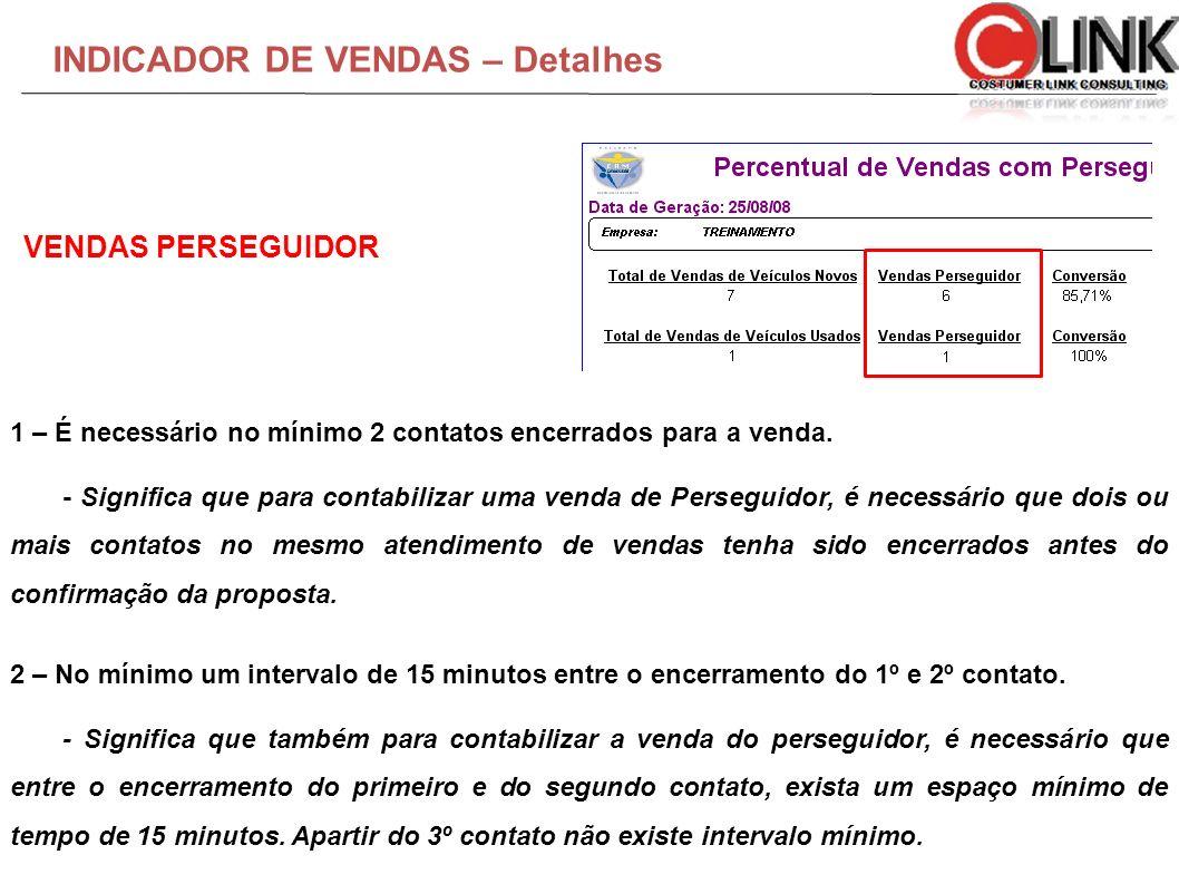 INDICADOR DE VENDAS – Detalhes 1 – É necessário no mínimo 2 contatos encerrados para a venda. - Significa que para contabilizar uma venda de Perseguid