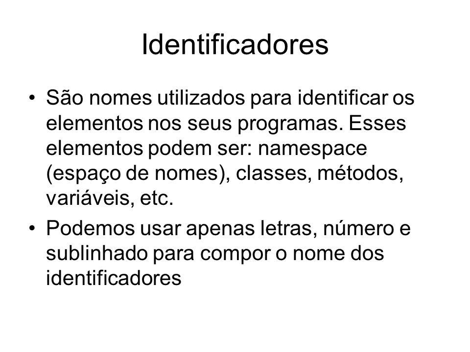 Identificadores São nomes utilizados para identificar os elementos nos seus programas. Esses elementos podem ser: namespace (espaço de nomes), classes
