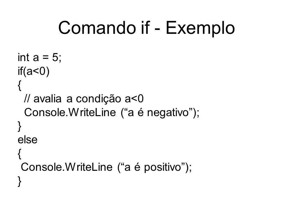 Comando if - Exemplo int a = 5; if(a<0) { // avalia a condição a<0 Console.WriteLine (a é negativo); } else { Console.WriteLine (a é positivo); }