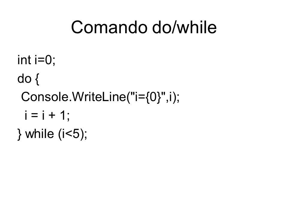 Comando do/while int i=0; do { Console.WriteLine(