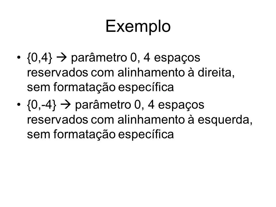Exemplo {0,4} parâmetro 0, 4 espaços reservados com alinhamento à direita, sem formatação específica {0,-4} parâmetro 0, 4 espaços reservados com alin