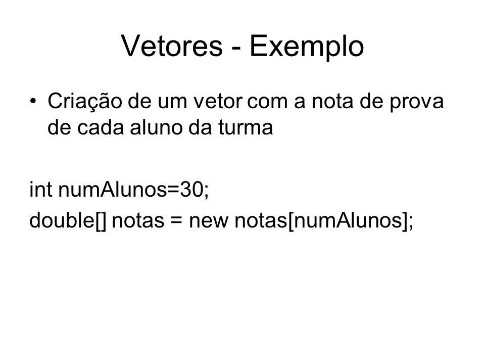 Vetores - Exemplo Criação de um vetor com a nota de prova de cada aluno da turma int numAlunos=30; double[] notas = new notas[numAlunos];