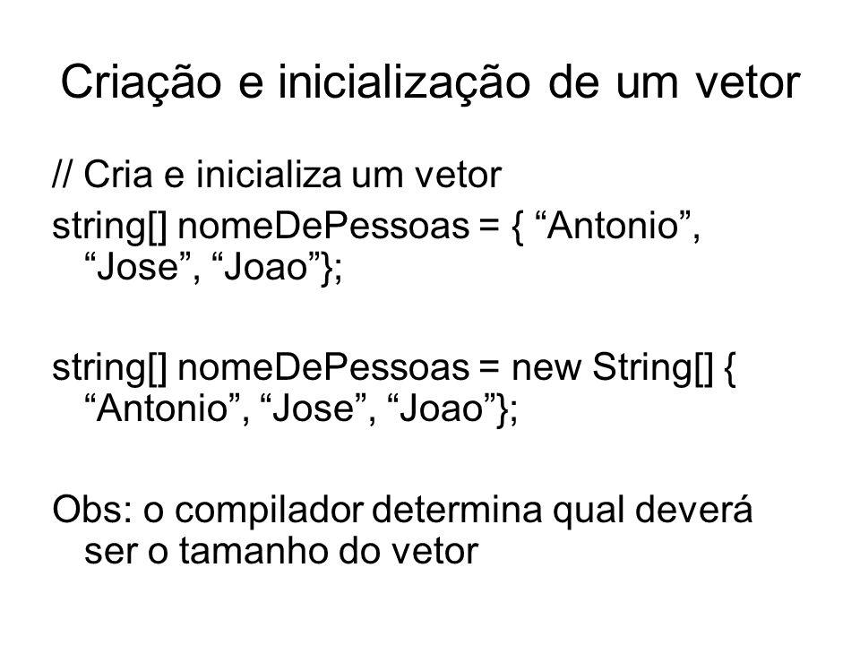 Criação e inicialização de um vetor // Cria e inicializa um vetor string[] nomeDePessoas = { Antonio, Jose, Joao}; string[] nomeDePessoas = new String