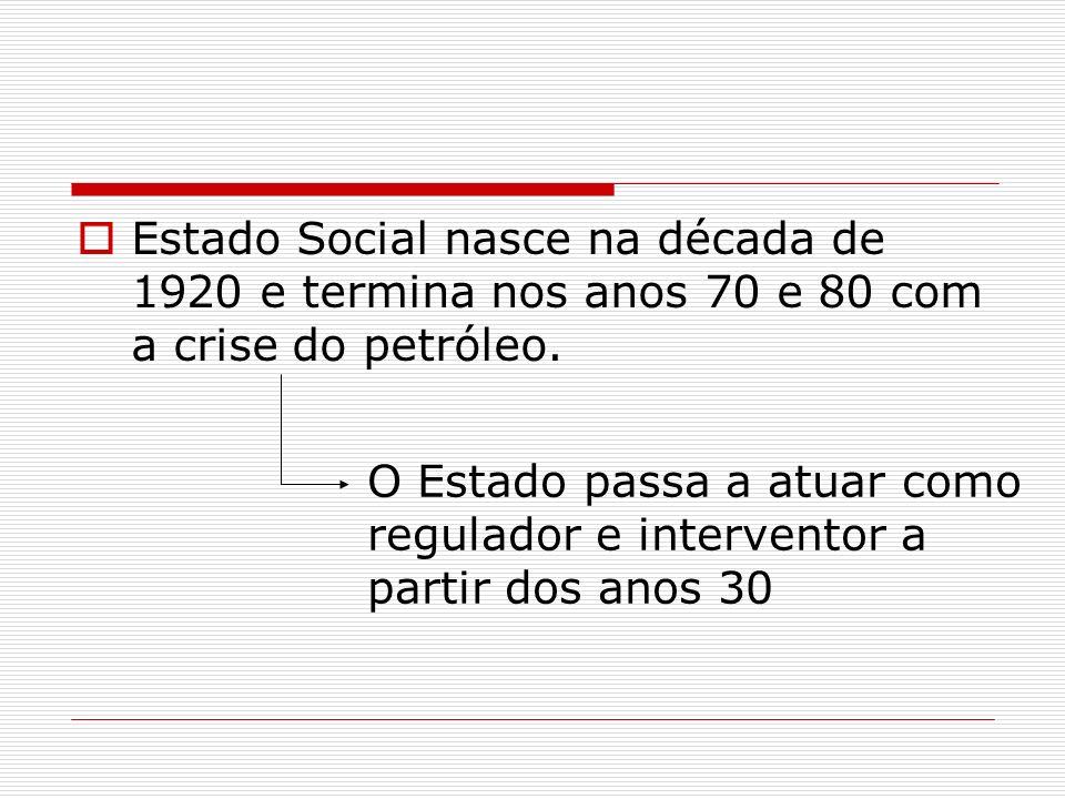 Estado Social nasce na década de 1920 e termina nos anos 70 e 80 com a crise do petróleo. O Estado passa a atuar como regulador e interventor a partir