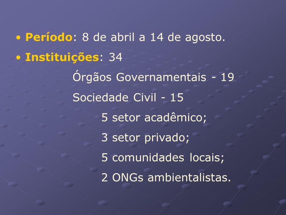 Período: 8 de abril a 14 de agosto. Instituições: 34 Órgãos Governamentais - 19 Sociedade Civil - 15 5 setor acadêmico; 3 setor privado; 5 comunidades