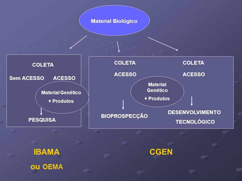 Material Biológico Material Genético + Produtos PESQUISA BIOPROSPECÇÃO DESENVOLVIMENTO TECNOLÓGICO Sem ACESSO COLETA ACESSO Material Genético + Produt