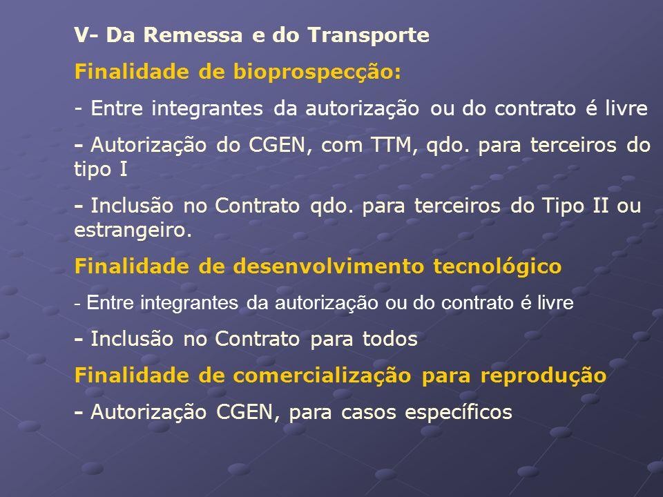 V- Da Remessa e do Transporte Finalidade de bioprospecção: - Entre integrantes da autorização ou do contrato é livre - Autorização do CGEN, com TTM, q