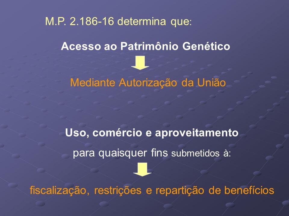 Acesso ao Patrimônio Genético Mediante Autorização da União Uso, comércio e aproveitamento para quaisquer fins submetidos à: fiscalização, restrições