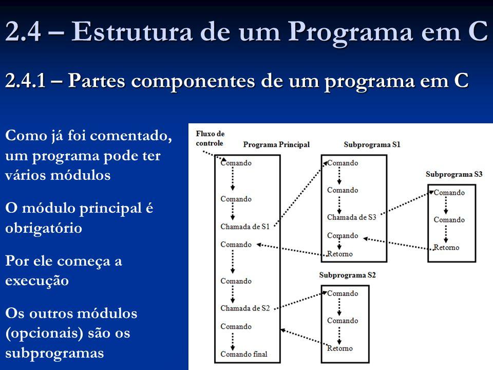 Em C, duas formas de introduzir comentários em programas: Tudo entre as sub-cadeias /* e */, sem as aspas, é considerado pelo compilador um comentário Tudo entre as sub-cadeias /* e */, sem as aspas, é considerado pelo compilador um comentário Se, numa linha do programa, aparecer a sub-cadeia //, sem as aspas, o restante da linha à direita é considerado um comentário Se, numa linha do programa, aparecer a sub-cadeia //, sem as aspas, o restante da linha à direita é considerado um comentário O compilador elimina todos os comentários do programa- fonte O compilador elimina todos os comentários do programa- fonte