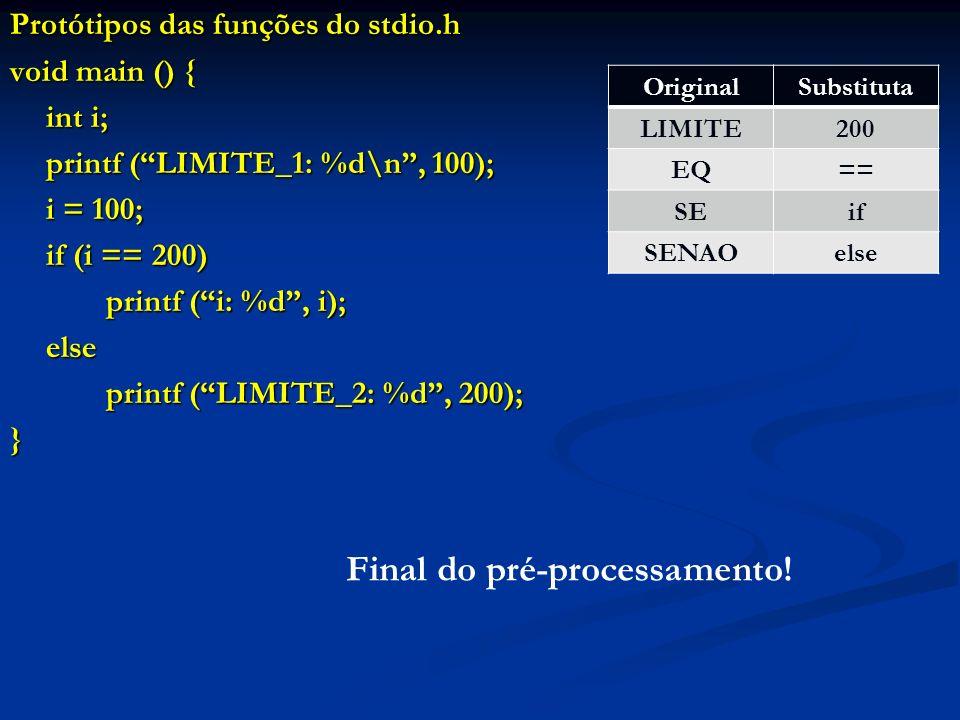 Protótipos das funções do stdio.h void main () { int i; printf (LIMITE_1: %d\n, 100); i = 100; if (i == 200) printf (i: %d, i); else printf (LIMITE_2:
