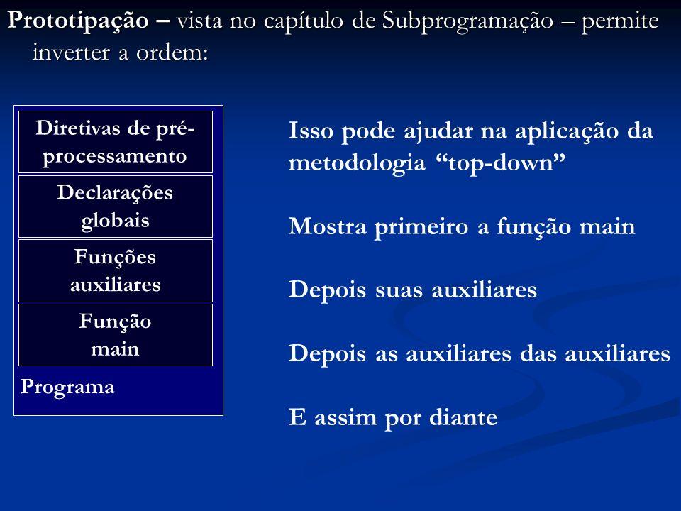 Protótipos das funções do stdio.h void main () { int i; printf (LIMITE_1: %d\n, 100); i = 100; if (i == 200) printf (i: %d, i); else printf (LIMITE_2: %d, 200); } OriginalSubstituta LIMITE200 EQ== SEif SENAOelse Final do pré-processamento!