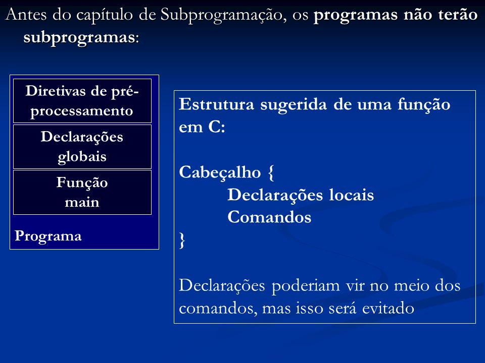 Antes do capítulo de Subprogramação, os programas não terão subprogramas: Programa Diretivas de pré- processamento Declarações globais Função main Est