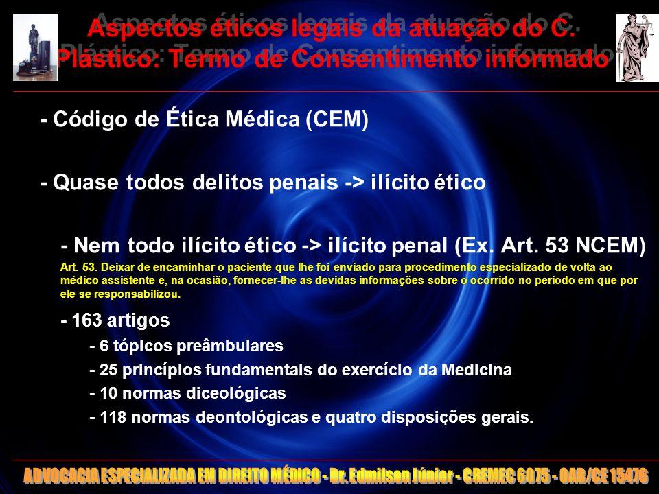 10 Aspectos éticos legais da atuação do C. Plástico: Termo de Consentimento informado - Código de Ética Médica (CEM) - Quase todos delitos penais -> i