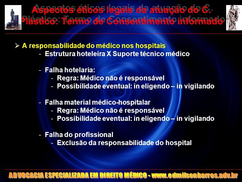 Aspectos éticos legais da atuação do C. Plástico: Termo de Consentimento informado A responsabilidade do médico nos hospitais -Estrutura hoteleira X S