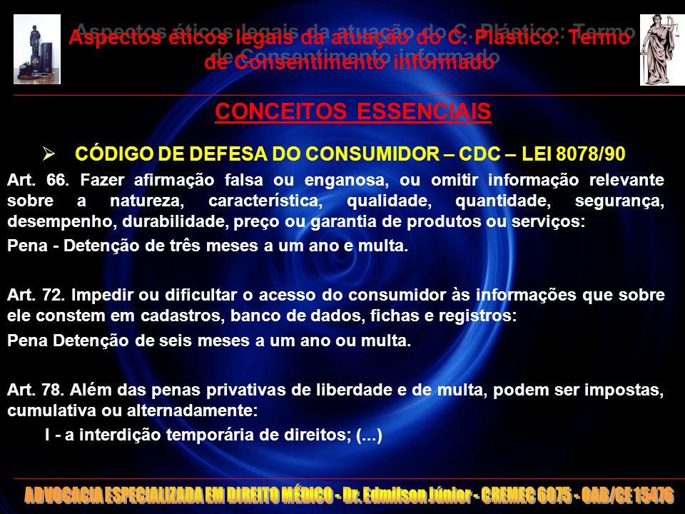17 Aspectos éticos legais da atuação do C. Plástico: Termo de Consentimento informado CONCEITOS ESSENCIAIS CÓDIGO DE DEFESA DO CONSUMIDOR – CDC – LEI