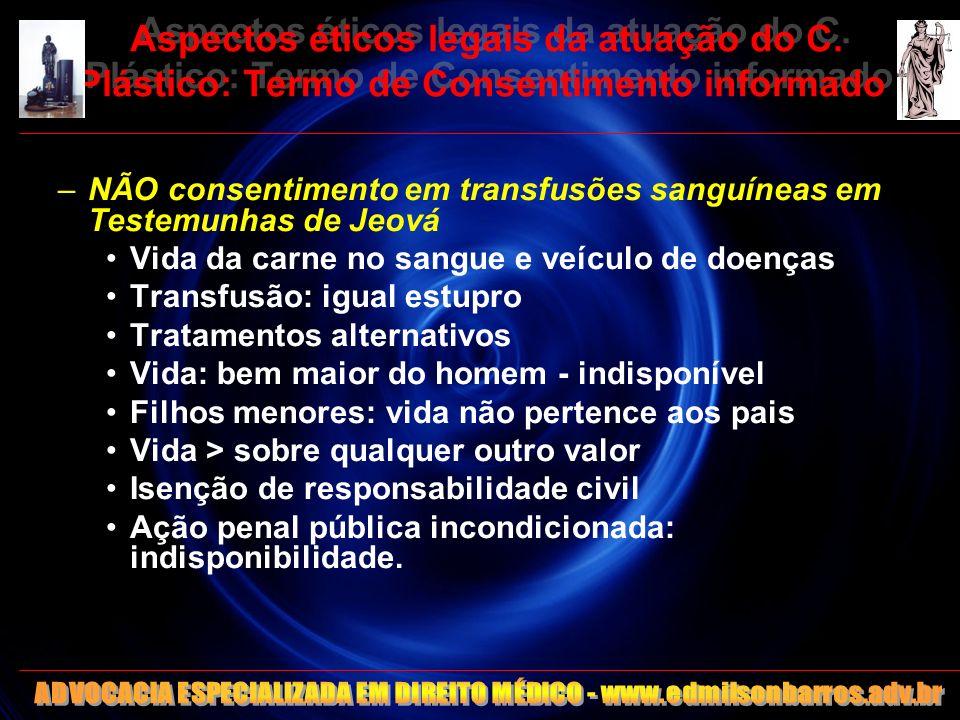 Aspectos éticos legais da atuação do C. Plástico: Termo de Consentimento informado –NÃO consentimento em transfusões sanguíneas em Testemunhas de Jeov