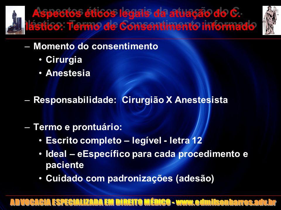 Aspectos éticos legais da atuação do C. Plástico: Termo de Consentimento informado –Momento do consentimento Cirurgia Anestesia –Responsabilidade: Cir