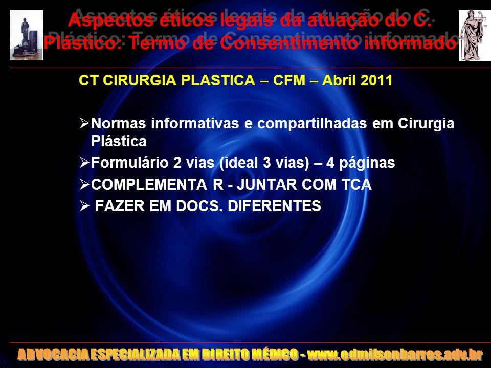 23 Aspectos éticos legais da atuação do C. Plástico: Termo de Consentimento informado CT CIRURGIA PLASTICA – CFM – Abril 2011 Normas informativas e co