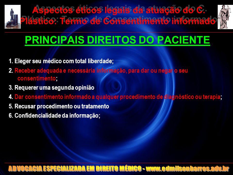 Aspectos éticos legais da atuação do C. Plástico: Termo de Consentimento informado PRINCIPAIS DIREITOS DO PACIENTE 1. Eleger seu médico com total libe