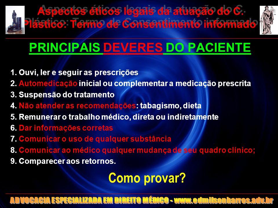 Aspectos éticos legais da atuação do C. Plástico: Termo de Consentimento informado PRINCIPAIS DEVERES DO PACIENTE 1. Ouvi, ler e seguir as prescrições