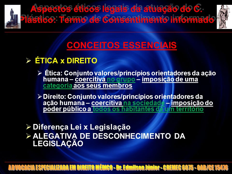 5 Aspectos éticos legais da atuação do C. Plástico: Termo de Consentimento informado CONCEITOS ESSENCIAIS ÉTICA x DIREITO Ética: Conjunto valores/prin
