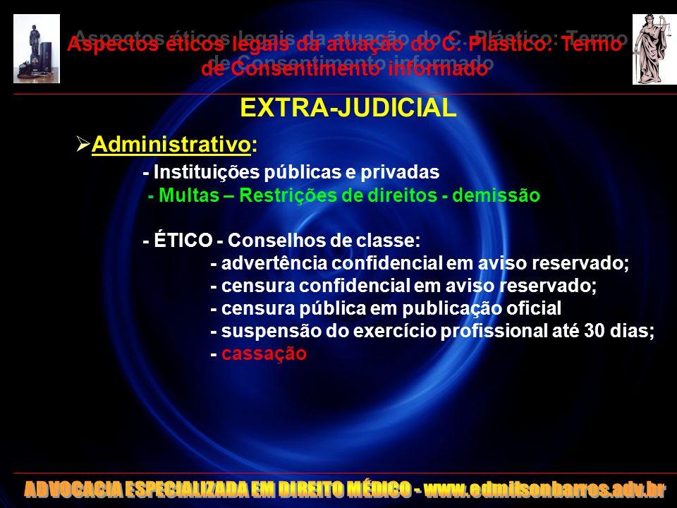 8 Aspectos éticos legais da atuação do C. Plástico: Termo de Consentimento informado EXTRA-JUDICIAL Administrativo: - Instituições públicas e privadas