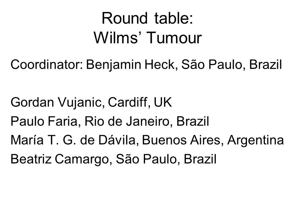 Round table: Wilms Tumour Coordinator: Benjamin Heck, São Paulo, Brazil Gordan Vujanic, Cardiff, UK Paulo Faria, Rio de Janeiro, Brazil María T. G. de