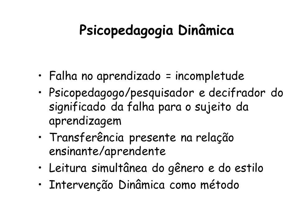 Psicopedagogia Dinâmica Falha no aprendizado = incompletude Psicopedagogo/pesquisador e decifrador do significado da falha para o sujeito da aprendizagem Transferência presente na relação ensinante/aprendente Leitura simultânea do gênero e do estilo Intervenção Dinâmica como método