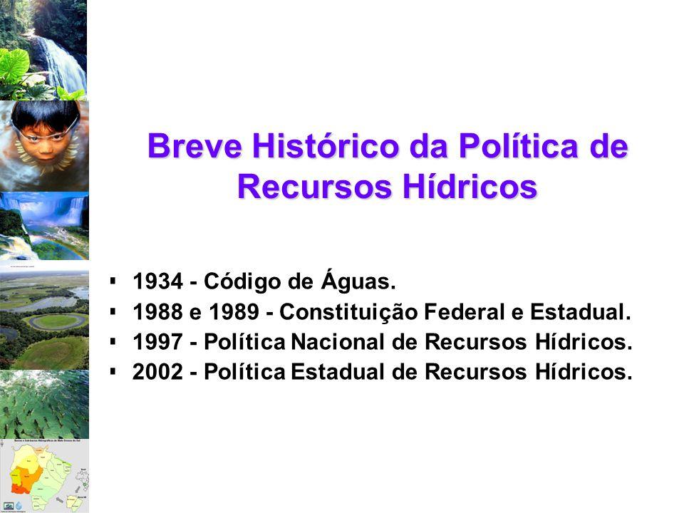 1934 - Código de Águas. 1988 e 1989 - Constituição Federal e Estadual. 1997 - Política Nacional de Recursos Hídricos. 2002 - Política Estadual de Recu