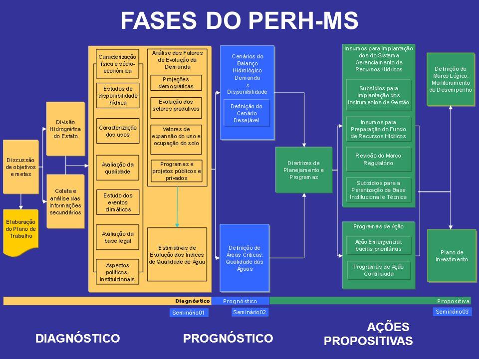 FASES DO PERH-MS DIAGNÓSTICOPROGNÓSTICO AÇÕES PROPOSITIVAS