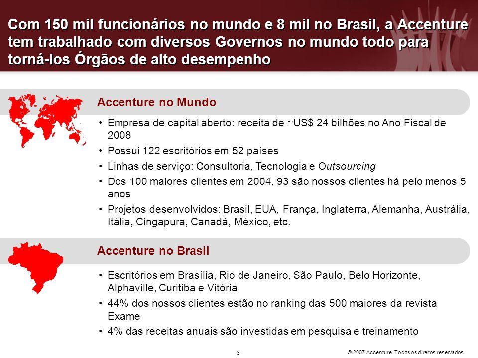 © 2007 Accenture. Todos os direitos reservados. 3 Com 150 mil funcionários no mundo e 8 mil no Brasil, a Accenture tem trabalhado com diversos Governo