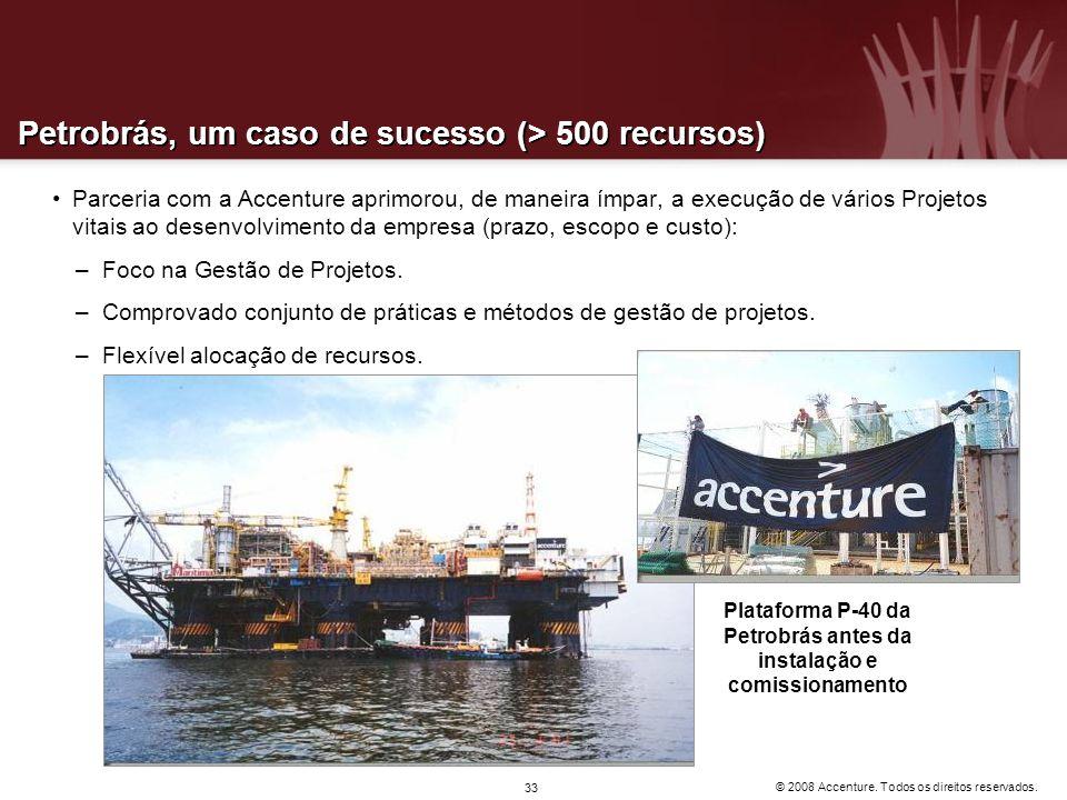 © 2008 Accenture. Todos os direitos reservados. 33 Petrobrás, um caso de sucesso (> 500 recursos) Parceria com a Accenture aprimorou, de maneira ímpar