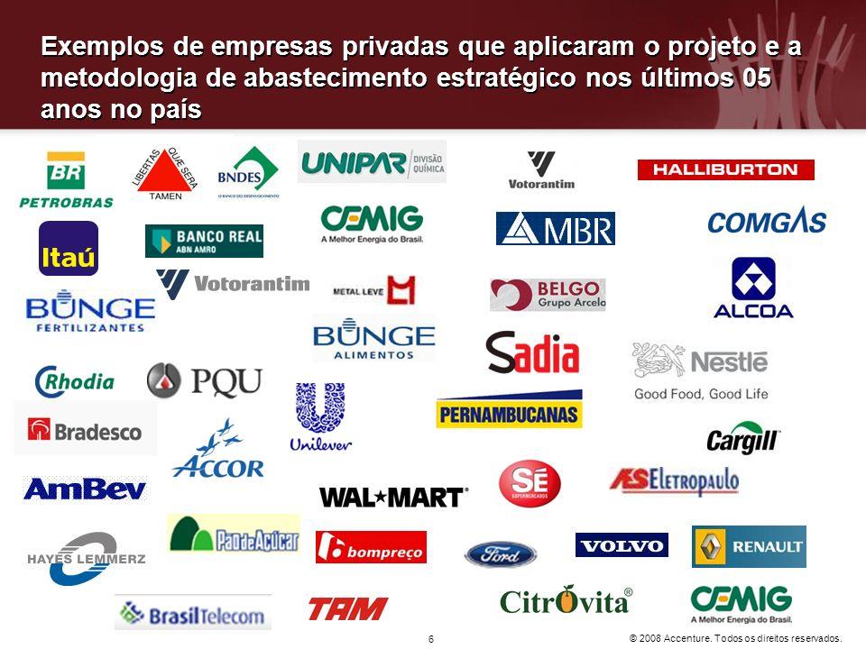 © 2008 Accenture. Todos os direitos reservados. 6 Exemplos de empresas privadas que aplicaram o projeto e a metodologia de abastecimento estratégico n