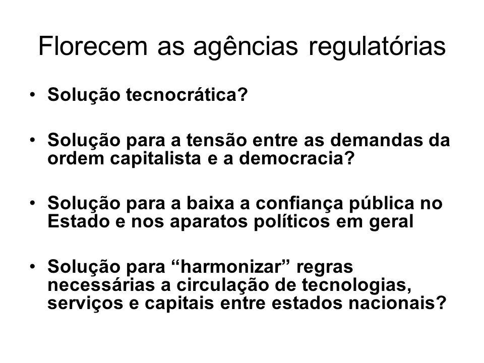 Florecem as agências regulatórias Solução tecnocrática.