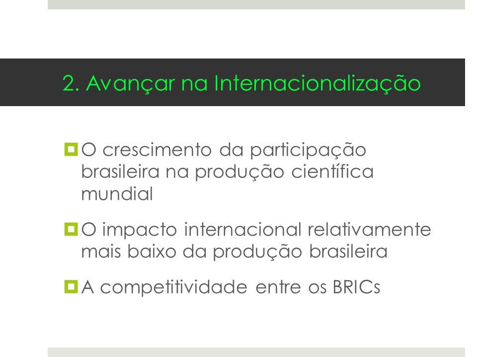 O crescimento da participação brasileira na produção científica mundial O impacto internacional relativamente mais baixo da produção brasileira A comp
