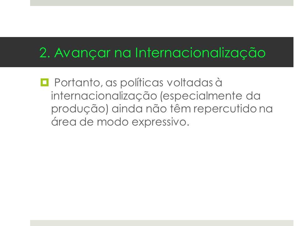 2. Avançar na Internacionalização Portanto, as políticas voltadas à internacionalização (especialmente da produção) ainda não têm repercutido na área