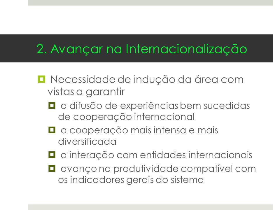 2. Avançar na Internacionalização Necessidade de indução da área com vistas a garantir a difusão de experiências bem sucedidas de cooperação internaci