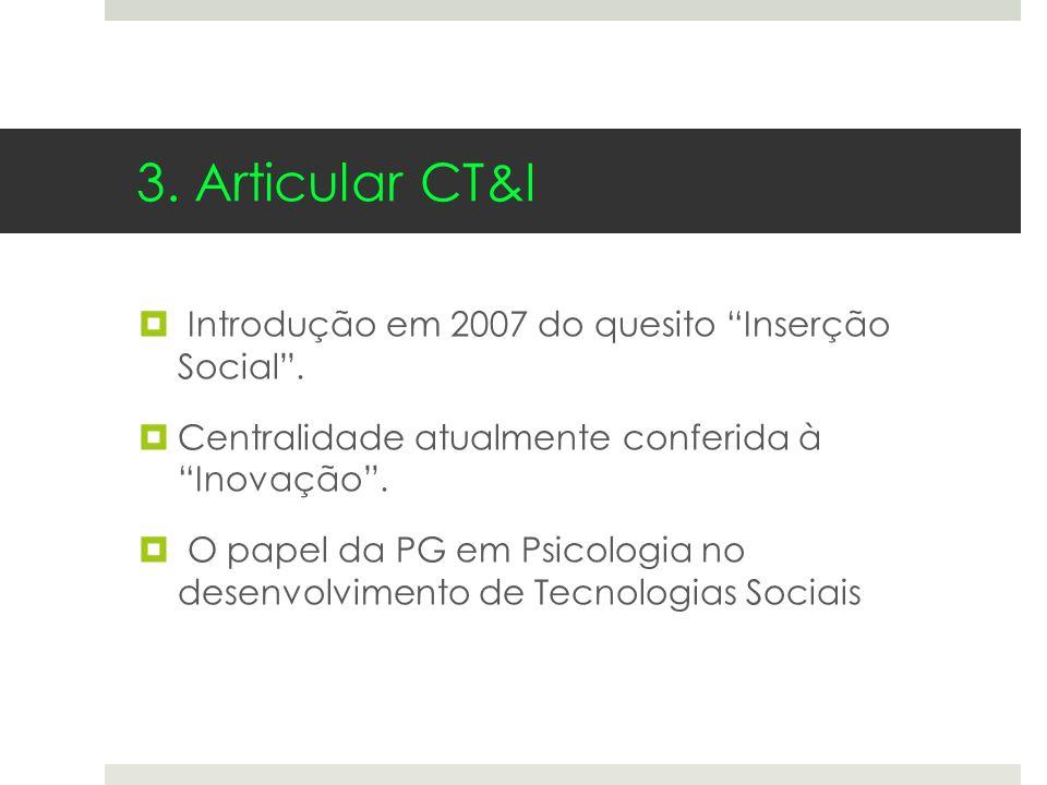 Introdução em 2007 do quesito Inserção Social. Centralidade atualmente conferida à Inovação. O papel da PG em Psicologia no desenvolvimento de Tecnolo