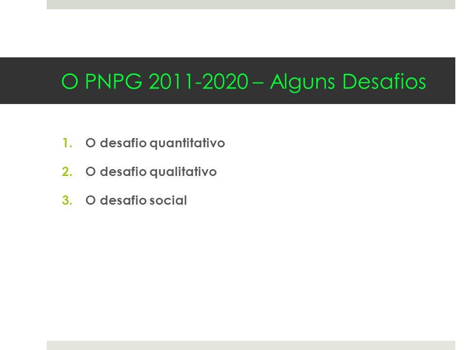 1.O desafio quantitativo 2.O desafio qualitativo 3.O desafio social O PNPG 2011-2020 – Alguns Desafios
