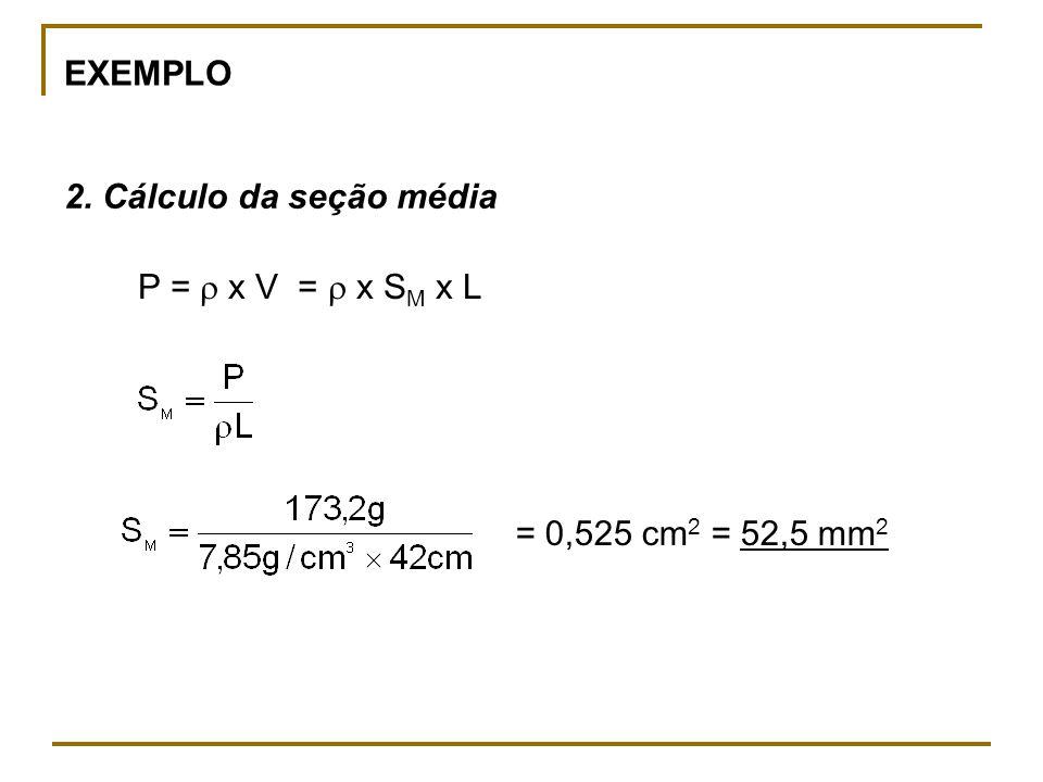 EXEMPLO 2. Cálculo da seção média P = x V = x S M x L = 0,525 cm 2 = 52,5 mm 2
