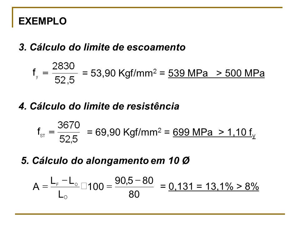 EXEMPLO 3. Cálculo do limite de escoamento 4. Cálculo do limite de resistência 5. Cálculo do alongamento em 10 Ø = 53,90 Kgf/mm 2 = 539 MPa > 500 MPa