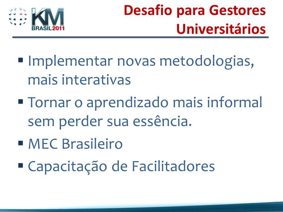 Desafio para Gestores Universitários Implementar novas metodologias, mais interativas Tornar o aprendizado mais informal sem perder sua essência.